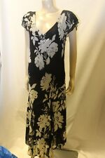 Ladies Soon Black & White floral Dress size 14 Floaty occasion dress