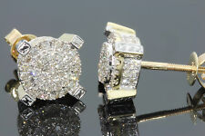 10K YELLOW GOLD .58 CARAT MENS WOMENS 9mm 100% REAL DIAMONDS EARRINGS STUDS