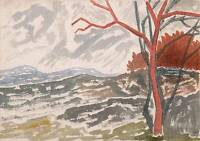 ABSTRACT TREES IN LANDSCAPE Watercolour Painting T J PITT 1962