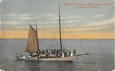 c.1910 Off for Fishing Banks on the Carib at Asbury Park NJ post card