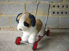 Vintage Push Along St Bernard Puppy on Trolley Merrythought Dog with Wheels Toy