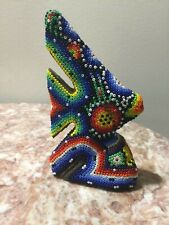FISH HUICHOL BEADED ART HAND MADE FROM MEXICO VINTAGE