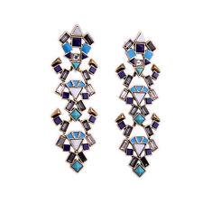 Ohrringe Mode Gestüt Golden Blau Weiß Dreieck Art Deco Ethnisch Anhänger X14