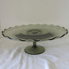 Unusual Vintage Gray Pressed Glass Cake Stand Pedestal Raised Fluted Edge