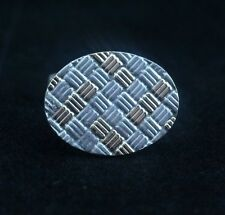 Gold Textured Weave Cufflink (Single) Tiffany & Co Sterling Silver 18K
