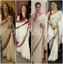 Stunning Indian Designer Bollywood Aishwarya Rai/ Kareena White &Red  Saree Sari