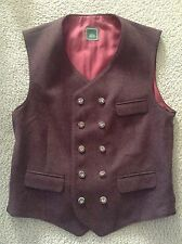 Goessl Gössl Trachten Dark Red Wool Gilet Vest~Gr 50/US 40 Double Breast Oktober
