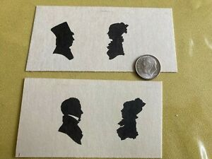 Dollhouse Miniature Man and Woman Silhouette Set on Card Top Hat