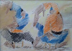 ARIE LUBIN , Pastel & Ink on Paper, Oriental Figures Dancing , Signed