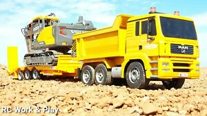 RC MAN TGA Dump Truck, Kane Low-Loader Trailer, & RC Volvo 3 In 1 Excavator