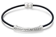 Black Leather & Matt Silver Crystal Bar Bracelet