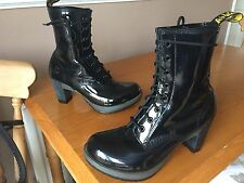 Dr Martens Darcie black leather patent heels UK 8 EU 42 goth punk