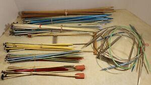 VTG Lot Of Knitting Needles 100+ pcs Wood Metal Plastic Circular And Straight