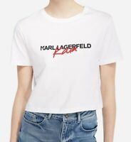KARL LAGERFELD Tee-shirt court signature KAIA coton blanc TXL 42 oversize