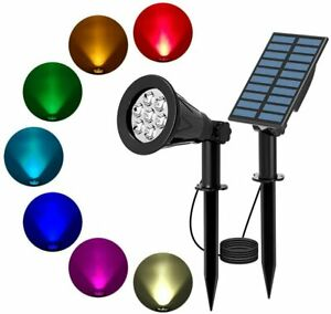 Solar Spot Lights LED Colour Changing Projection Stake Garden Light Outdoor UK