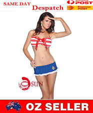Women Sexy Lingerie Top Bra Shorts T-back Sailor Outfit Fancy Dress up Costume