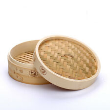 Bamboo Steamer 12 inch Set Dim Sum Basket with Lid Bun Rice Cooker Food Steamers