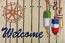"Jellybean Indoor Outdoor Rug Nautical Welcome Fishing Buoys 21"" x 33"""
