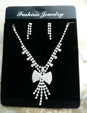 Rhinestone Diamante Crystal Necklace Bow Bridal Earrings Prom Jewellery Gift Set