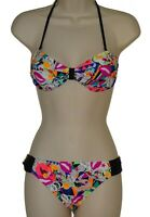 California Waves pop art bandeau bikini set size M swimsuit new
