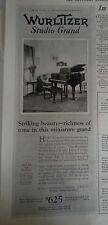 1926 Wurlitzer Studio Grand Piano Vintage Original Print Ad