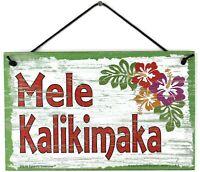 5x8 Christmas Sign Mele Kalikimaka Hawaii Hawaiian Xmas Greetings Welcome Green
