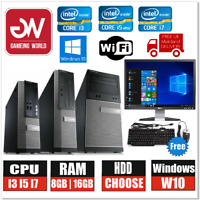 "Dell Desktop PC Computer BUNDLE i3 i5 i7 500GB 1TB 8GB 16GB Win10 19"" Monitor"