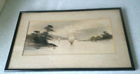 ANTIQUE / VINTAGE CHINESE / JAPANESE PEN AND INK DRAWING PICTURE- GOLDEN JUNKS