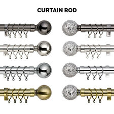Extendable Curtain Pole 28mm Metal Plain Mosaic Ball Finials Rings Rod Fittings