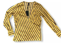 Y.A.S Yellow Stripe Blouse Wrap Top UK 10 V Neck Long sleeves