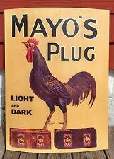 "Mayo's Plug Light & Dark Chewing Tobacco Vintage Metal Sign, 24""x 18"""