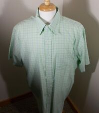 Brooks Brothers Plaid Green & Blue Short Sleeve XL Button Up