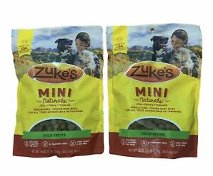 Zukes Mini Naturals Dog Treats Duck Recipe Lot Of 2 Exp: 1/23
