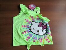 NWT Girls' Hello Kitty One Shoulder Ruffle Tank - Green, Size M 7-8
