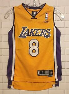 Kobe Bryant #8 Los Angeles Lakers Sewn Reebok NBA Youth Basketball Jersey S 8