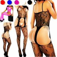 Bodystocking Fishnet Dress Style Mesh Body Stocking Bodysuit Nightwear Lingerie