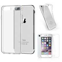 iPhone 8 Clear Case Cover Gel and Tempered Glass Screen Protector For Apple