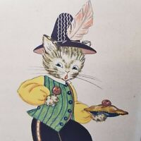 Vintage Anthropomorphic Cat Kitten Little Jack Horner Litho Print Hat Feather