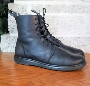 DR MARTEN WOMENS DANICA BLACK 8 EYELET AIR WARE LACE UP LEATHER BOOTS  US 10.5