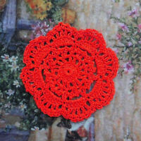 4pcs Red Hand Crochet Lace Doilies Placemats for Table Decoration 4inch Round