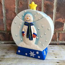 Snow Globe Snowman Winter Christmas Ceramic Cookie Jar W/ Removable Lid