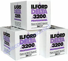 3 x ILFORD DELTA 3200 35mm 36exp CHEAP B&W CAMERA FILM by 1st CLASS POST