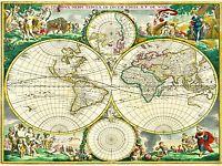 MAP ANTIQUE WORLD GLOBE HEMISPHERE ILLUSTRATED ART POSTER PRINT LV2142