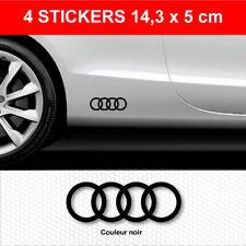 Stickers ANNEAUX AUDI Noir 4 Autocollants Adhésifs Bas de Caisse 14,3 cm x 5 cm
