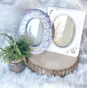 Vintage Floral Ceramic Resin Picture Frames Set of 2 Rectangle Oval Flowers