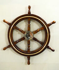 """Nautical Beach Wooden Boat Steering Wheel Wall Hanging Home Decor 24"""""""