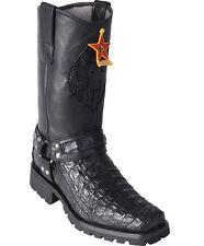 Los Altos BLACK Smooth Caiman Crocodile Motorcycle Boots Square Toe Biker EE+