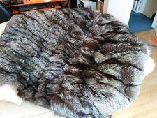 £300 OFF! LOVELY SOFT REAL SILVER / INDIGO FOX FUR THROW / BLANKET - 160x160cm