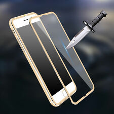 For iPhone 7 Plus Full Cover 3D Tempered Glass Screen Protector Metal Edge Gold