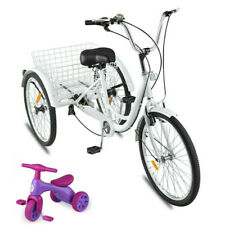 "Adult Tricycle 24"" 7-Speed 3 Wheel Exercise Shopping Bicycle Large Basket"